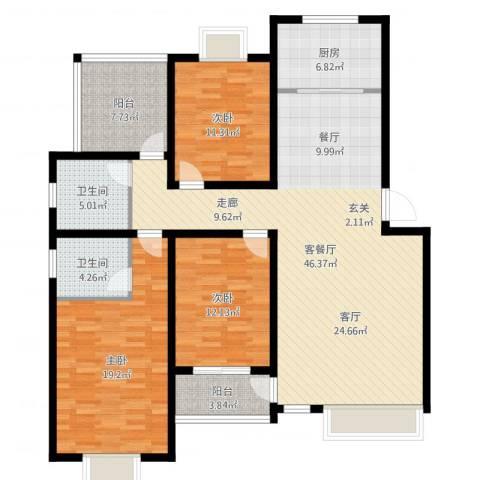万达高尔夫花园3室2厅2卫1厨146.00㎡户型图