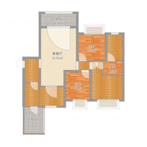 英郦庄园・曼城3室2厅4卫1厨98.00㎡户型图