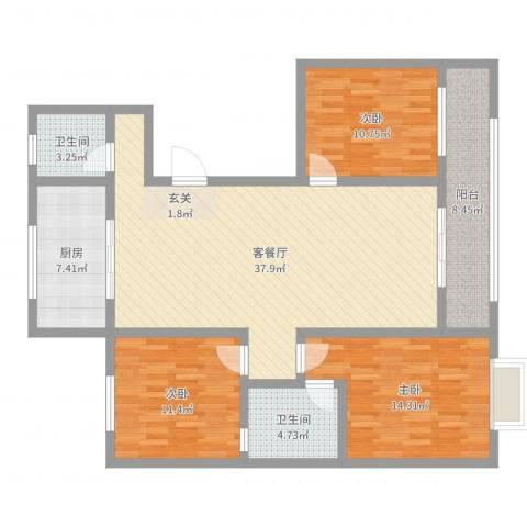 裕昌大学城3室2厅2卫1厨123.00㎡户型图