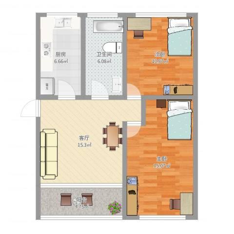 鹏欣家园2室1厅1卫1厨73.00㎡户型图