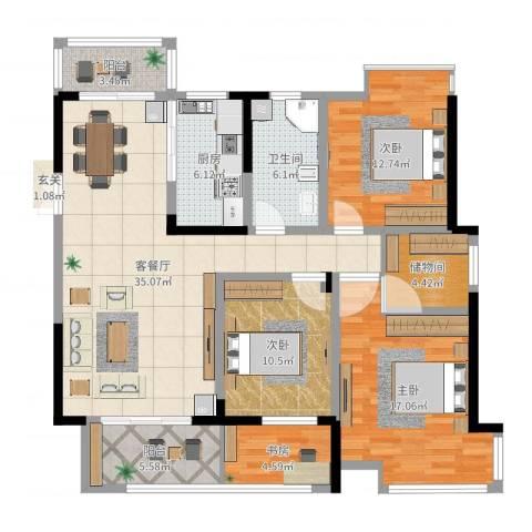 金路花园4室2厅1卫1厨132.00㎡户型图