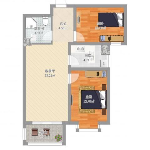 米苏阳光2室2厅1卫1厨88.00㎡户型图