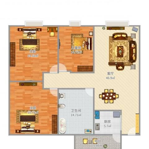 盈彩美地3室1厅1卫1厨134.14㎡户型图