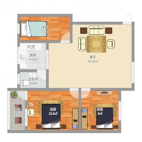 荣华南小区3室1厅1卫1厨85.00㎡户型图
