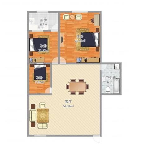京穗花卉大厦3室1厅1卫1厨141.00㎡户型图