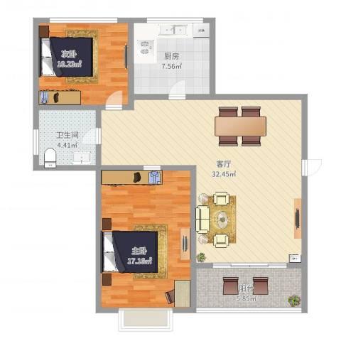 玫瑰992室1厅1卫1厨97.00㎡户型图
