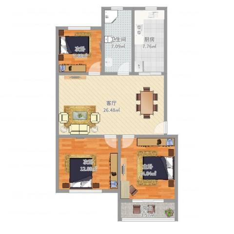 万寿新村六区3室1厅1卫1厨99.00㎡户型图