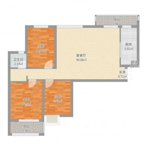 淮安万达广场3室2厅1卫1厨112.00㎡户型图