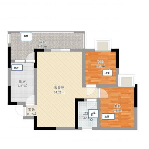 圣地阳光2室2厅1卫1厨75.00㎡户型图