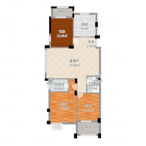 春江花园3室2厅2卫1厨131.00㎡户型图