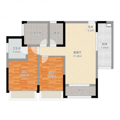 海亮国际广场2室2厅3卫1厨96.00㎡户型图