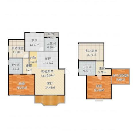 乾宁园2室2厅3卫1厨236.00㎡户型图