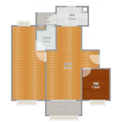 番禺万达广场1室2厅3卫1厨79.00㎡户型图