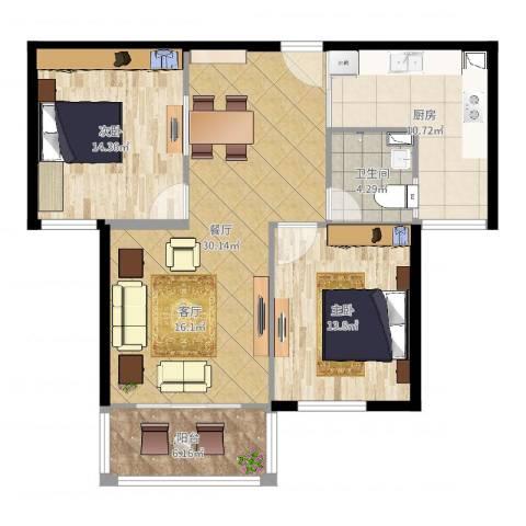 万泰香河佳园2室1厅1卫1厨99.00㎡户型图