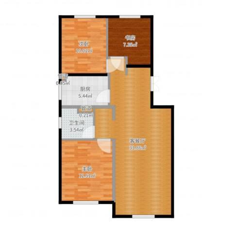 经纬城市绿洲海旋园3室2厅2卫2厨91.00㎡户型图