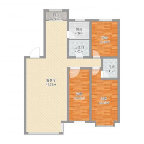 阳光苑3室2厅2卫1厨142.00㎡户型图
