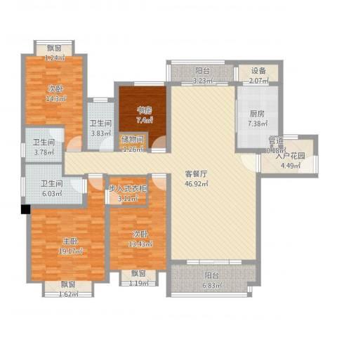 仁恒滨海半岛4室2厅3卫1厨179.00㎡户型图