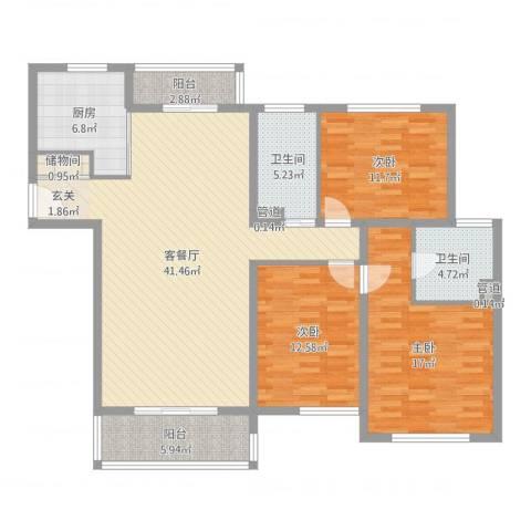 上海新城3室2厅2卫1厨137.00㎡户型图