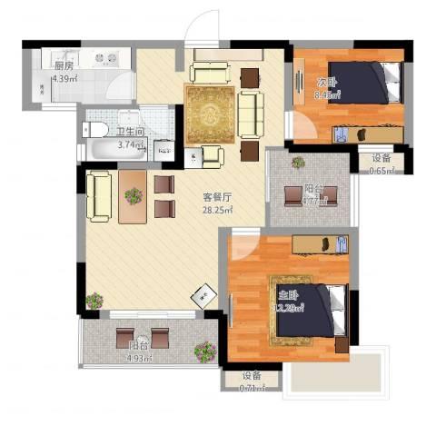 瑞泽源一里洋房2室2厅1卫1厨99.00㎡户型图