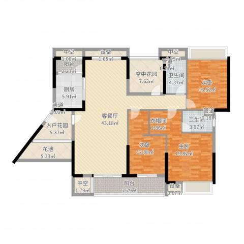 乐从钜隆风度广场3室2厅2卫1厨201.00㎡户型图
