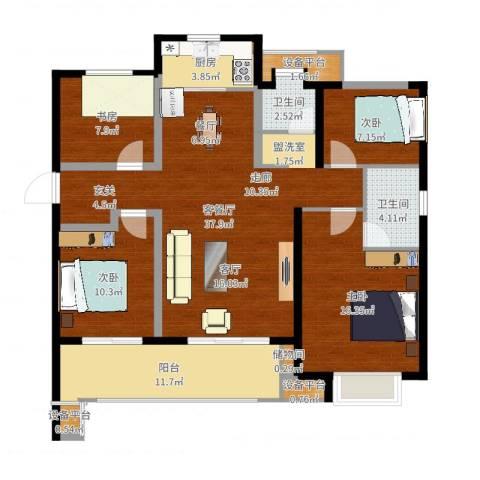 万科金域传奇4室2厅2卫1厨131.00㎡户型图
