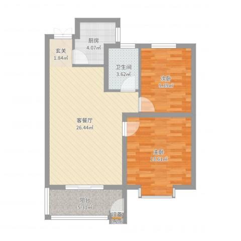建邦・向�院2室2厅1卫1厨78.00㎡户型图