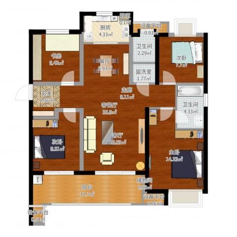 万科金域传奇4室2厅2卫1厨126.00㎡户型图