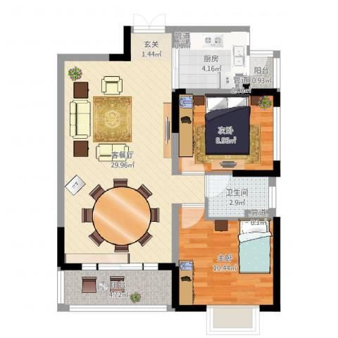 恒基水漾花城2室2厅1卫1厨78.00㎡户型图