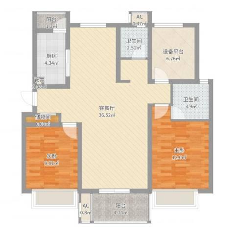 紫晶广场2室2厅2卫1厨106.00㎡户型图