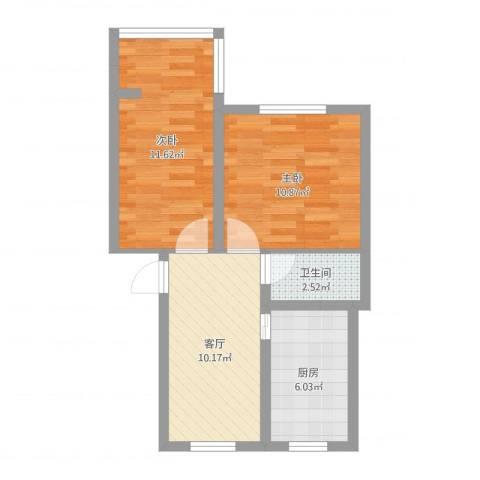 苏医新村2室1厅1卫1厨52.00㎡户型图