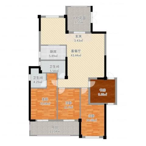 郦景阳光二期4室2厅2卫1厨164.00㎡户型图