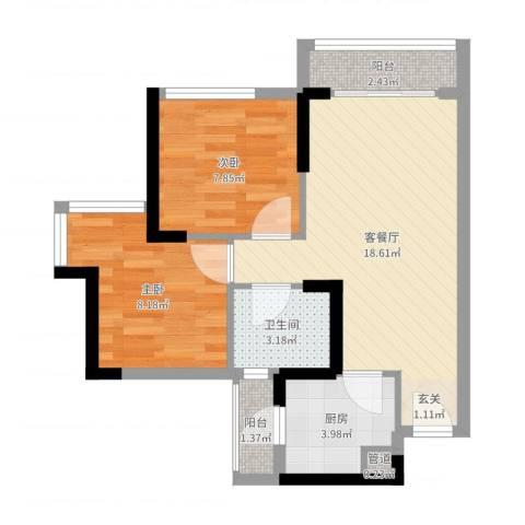 万象凯旋湾2室2厅1卫1厨57.00㎡户型图