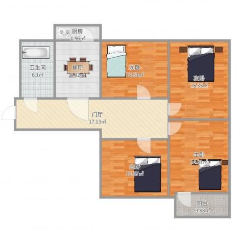 青后小区4室1厅1卫1厨115.00㎡户型图