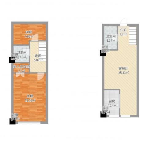 恒东幸福里2室2厅2卫1厨86.00㎡户型图