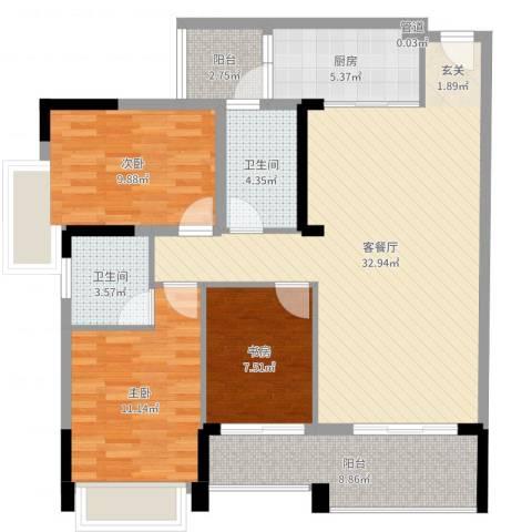 盈悦豪庭3室2厅2卫1厨108.00㎡户型图