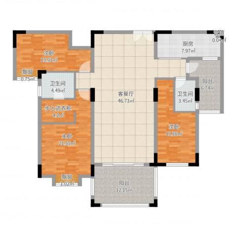 富龙翡翠欧庭3室2厅2卫1厨163.00㎡户型图