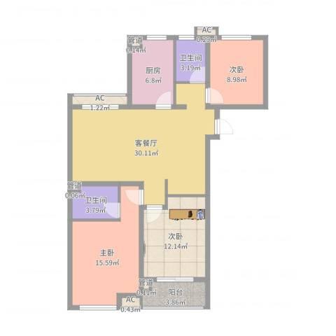 当代国际广场3室2厅2卫1厨108.00㎡户型图
