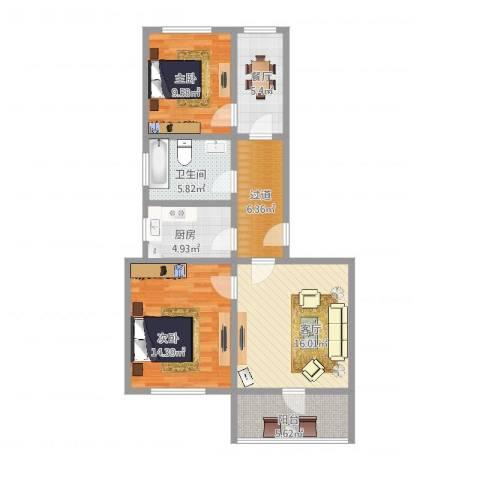 盛世虹桥二期2室2厅1卫1厨85.00㎡户型图