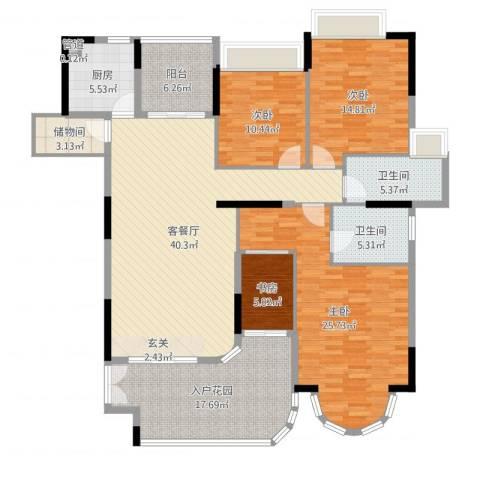 珠光御景湾4室2厅2卫1厨175.00㎡户型图