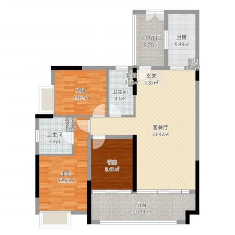 珠光御景湾3室2厅2卫1厨116.00㎡户型图