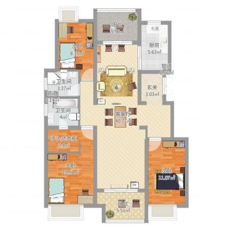 保利紫荆公馆3室2厅2卫1厨125.00㎡户型图