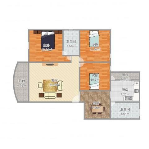 恒福湖景湾3室2厅2卫1厨118.00㎡户型图