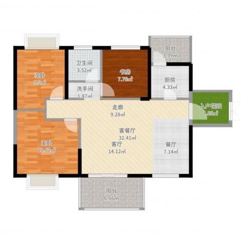 坤元・水木清华3室2厅1卫1厨105.00㎡户型图