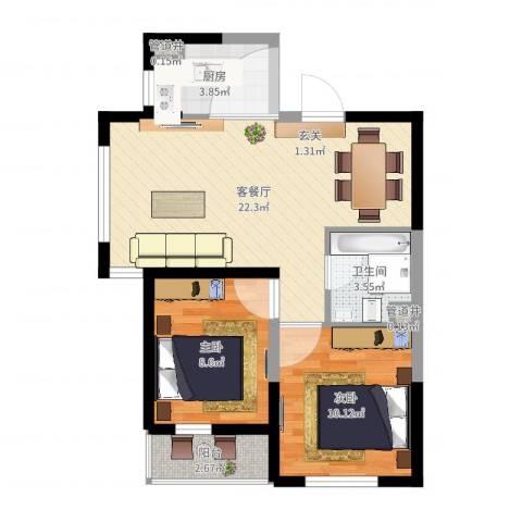 格林阳光城2室2厅1卫1厨64.00㎡户型图