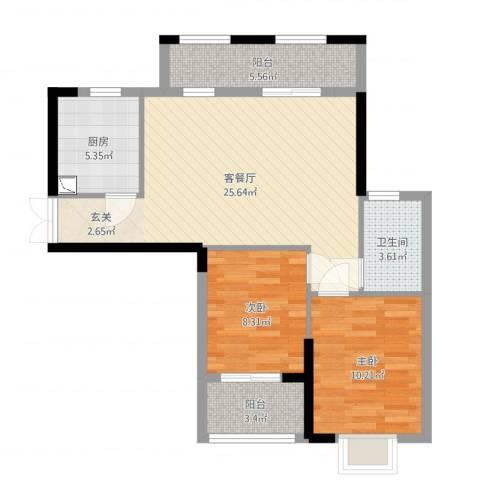 莲花湖小区二期2室2厅1卫1厨78.00㎡户型图