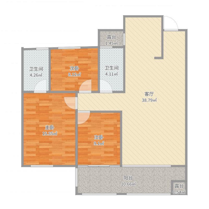 万象新城A9户型112.76方三室二厅二卫