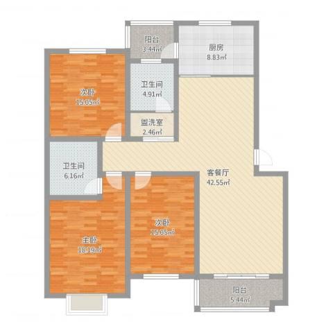长安地王广场3室2厅2卫1厨153.00㎡户型图