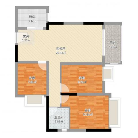 珠江东岸3室2厅1卫1厨90.00㎡户型图