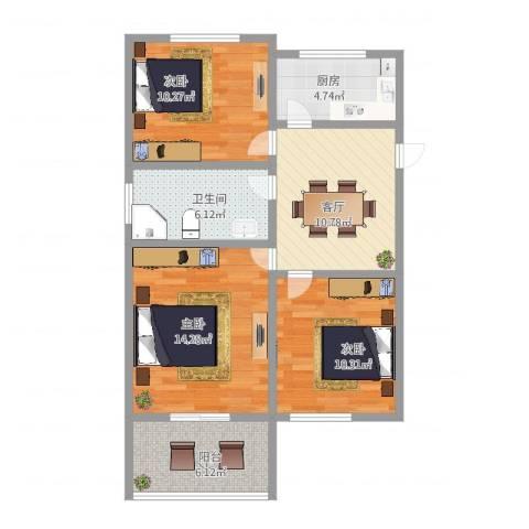 月浦八村3室1厅1卫1厨78.00㎡户型图