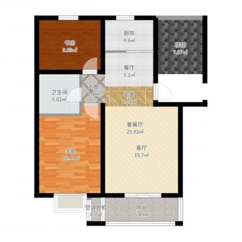 虹凌阁2室2厅1卫1厨88.00㎡户型图